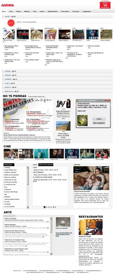 Agenda de ocio del Diario de Sevilla, Diario de Jerez y Diario de Cádiz