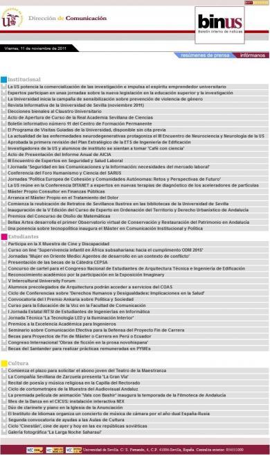 BINUS: Boletín Interno de Noticias