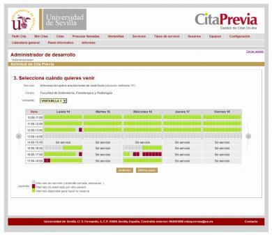 Sistema On-Line de solicitud y gestión de Citas Previas de Universidad de Sevilla