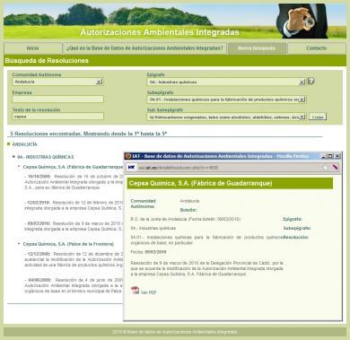 Portal para la gestión de Autorizaciones Ambientales Integradas para la Consejería de Medioambiente de la Junta de Andalucía