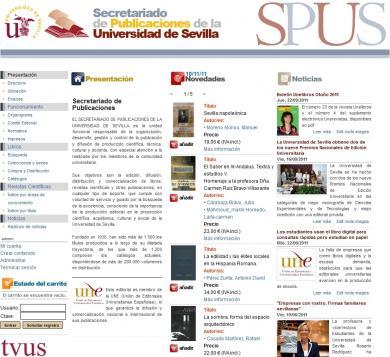 Web corporativa del Secretariado de Publicaciones de la Universidad de Sevilla