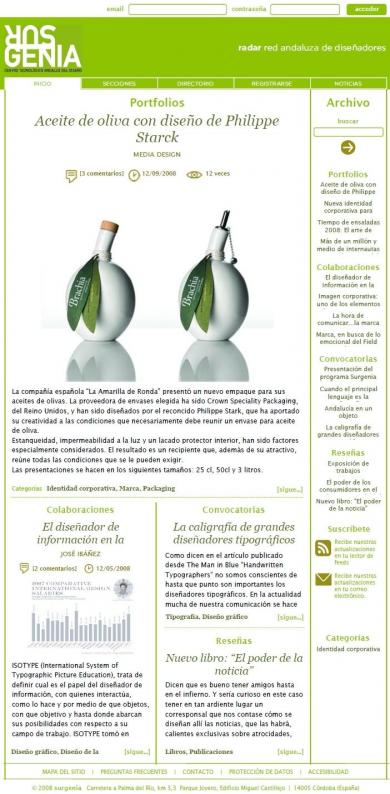Portal Surgenia del Centro Tecnológico Andaluz del Diseño 2009